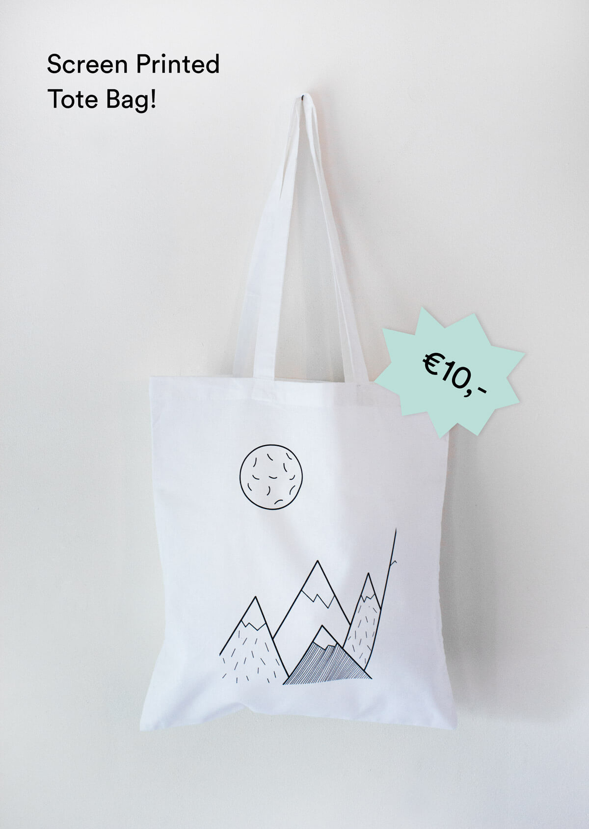 Screen Printed Tote Bag 'Mountains'
