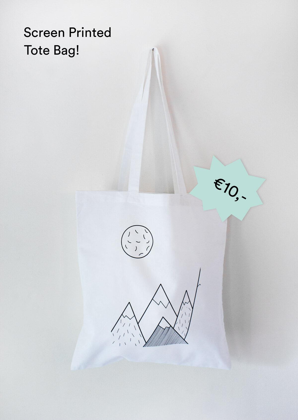 Screen Printed Tote Bag 'Mountains'